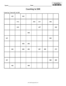 Counting Table to 500- numeration page