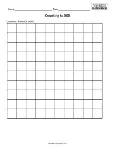 Counting Table to 500 math worksheets