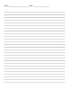 Lined Paper-  Handwriting, Penmanship, Cursive, Worksheet