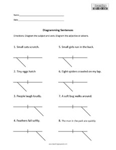 Sentence diagramming worksheets teaching squared sentence diagramming modifiers ccuart