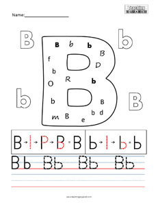 Letter B practice teaching worksheet