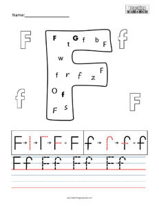 Letter F practice teaching worksheet