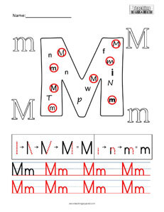 Letter M Practice teaching worksheet