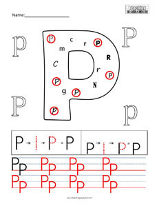 Letter P Practice teaching worksheet
