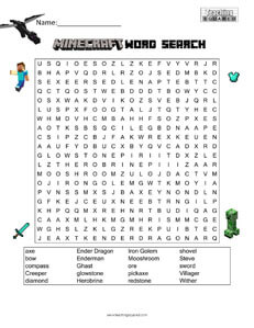 Minecraft Word Search Puzzles