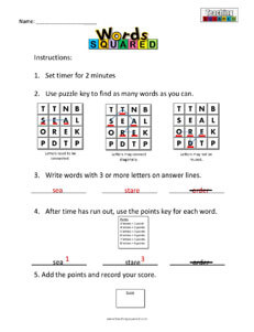 Words Squared boggle puzzle worksheets