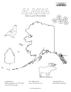 fun Alaska United States coloring page for kids