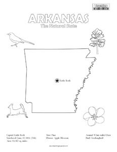 fun Arkansas United States coloring page for kids