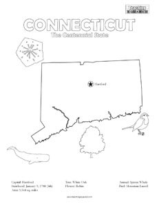 fun Connecticut coloring page for kids