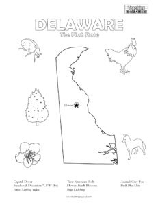 fun Delaware United States coloring page for kids
