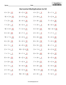 Horizontal Multiplication to 50 Multiplication Facts