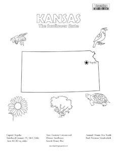 fun Kansas United States coloring page for kids