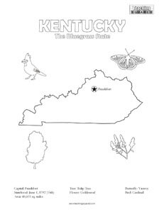 fun kentucky united states coloring page for kids - United States Coloring Page