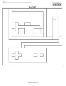 Gamer- Free Coloring Pages