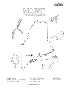 fun maine united states coloring page for kids
