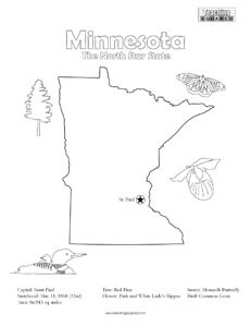 fun minnesota united states coloring page for kids