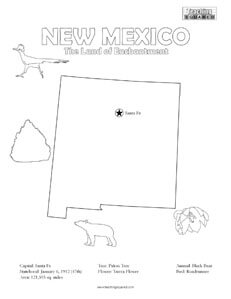 fun New Mexico United States coloring page for kids