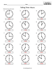 Telling Time- Hours