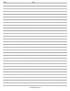 Lined Paper- Dotted-  Handwriting, Penmanship, Cursive, Worksheet