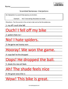 CONJUNCTIONS and INTERJECTIONS WORKSHEET A. Underline the ...