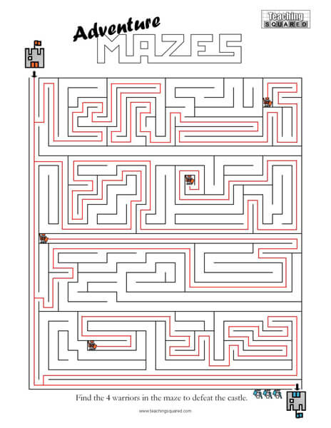 Adventure Maze game worksheets
