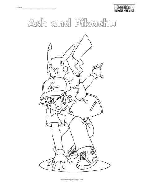 Free coloring pages teaching squared for Ash and pikachu coloring pages