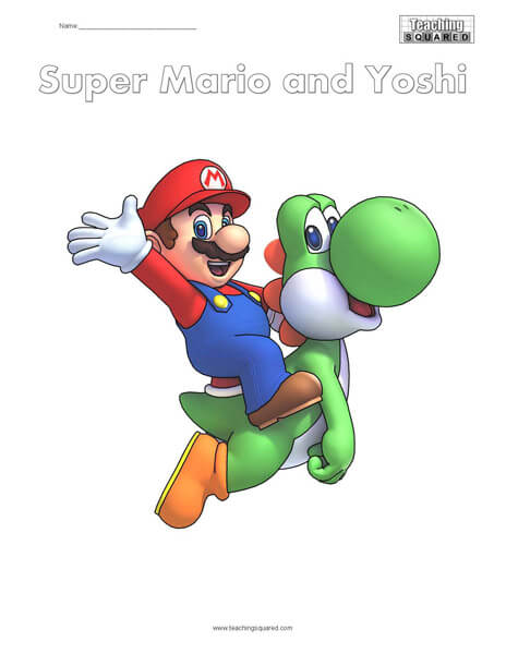 Super Mario and Yoshi Coloring Page