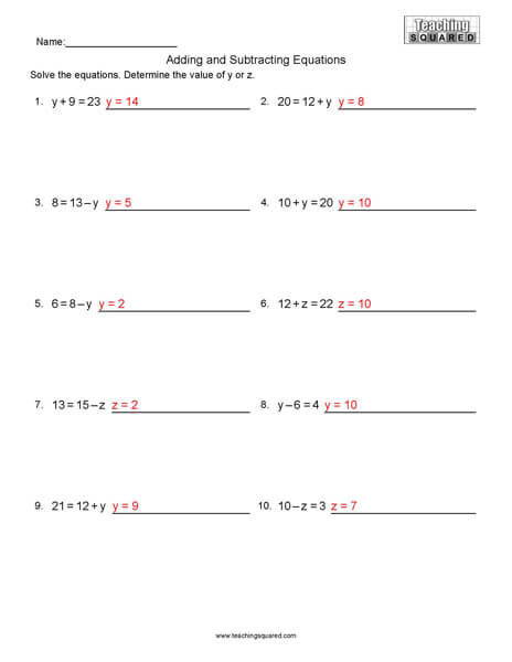 Equations- Adding and Subtracting