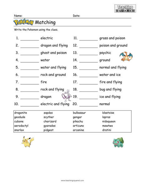 fun Pokémon game top worksheets