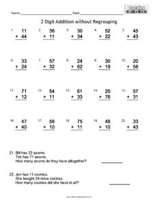 Computation Addition no Regrouping math worksheets teaching