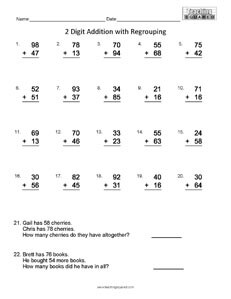 computations  teaching squared computation addition regrouping math worksheets