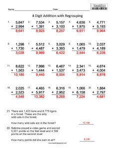 4 Digit Addition- Math Worksheets