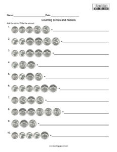 Counting Money- Dimes and Nickels Math Worksheets