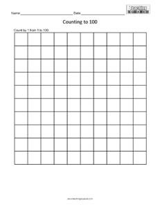 Counting Table to 100 math worksheets