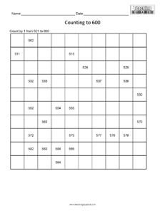 Counting Table to 600- numeration page