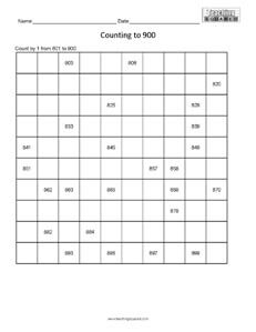 Counting Table to 900- numeration page