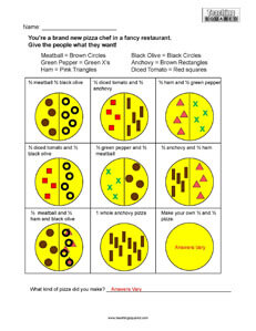 Fraction Pizzas Math Worksheets
