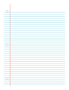Notebook Paper-  Handwriting, Penmanship, Cursive, Worksheet