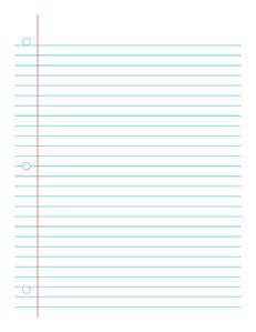 Notebook Paper 2-  Handwriting, Penmanship, Cursive, Worksheet