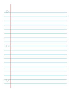 Notebook Paper Wide-  Handwriting, Penmanship, Cursive, Worksheet