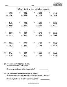Computation Subtraction no Regrouping math worksheets teaching