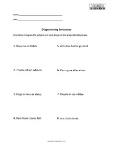 Sentence Diagramming- Prepositional Phrases Worksheet