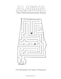 fun Alabama maze game top worksheets