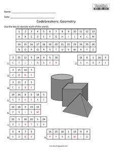 Codebreakers 3D Geometry Terms Fun kids activity
