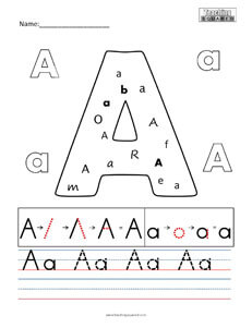 Letter A Practice teaching Worksheet