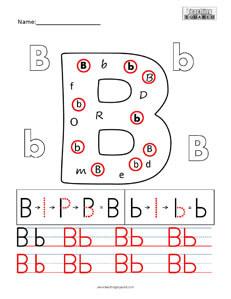 Letter B Practice teaching worksheet