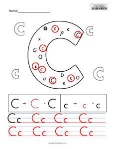 Letter C Practice teaching worksheet