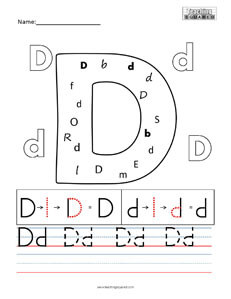 Letter D Practice teaching Worksheet