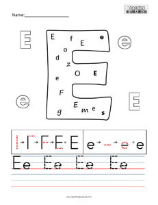 Letter E practice teaching worksheet