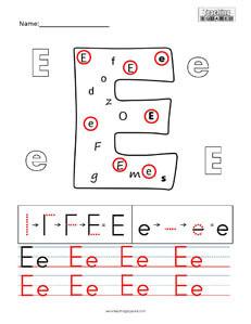 Letter E Practice teaching worksheet